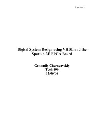 Digital System Design using VHDL and the Spartan-3E FPGA Board