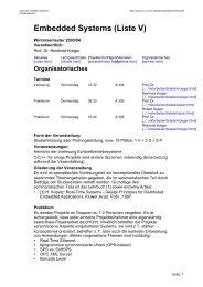 Embedded Systems (Liste V) - Labor für Verteilte Systeme