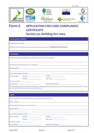 Application Form for Code Compliance Certification Form 6
