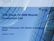 1H 2008 Investor and Analyst Conference Call Presentation - VTB