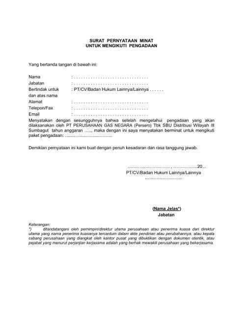 Surat Pernyataan Minat Un