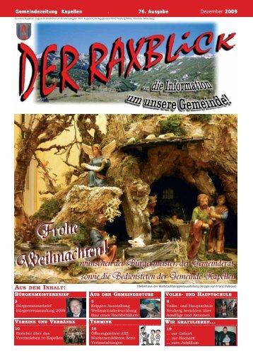 Gemeindezeitung Kapellen . 76. Ausgabe Dezember 2009