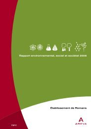 Établissement de Romans Rapport environnemental ... - AREVA