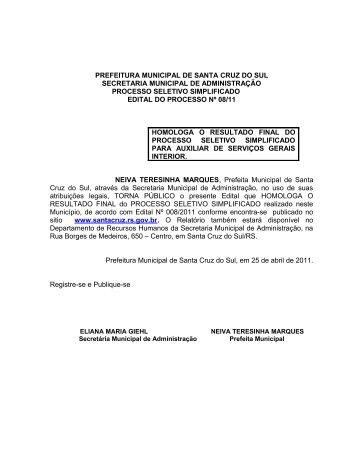 prefeitura municipal de santa cruz do sul secretaria municipal de ...