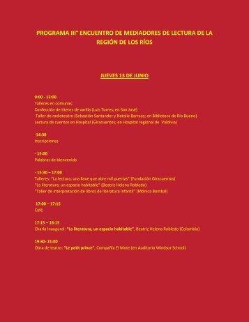 Programa III Encuentro Mediadores de Lectura Los Ríos