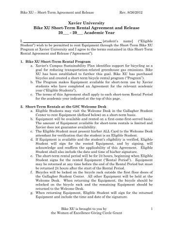 Bike Xu Long Term Rental Agreement And Waiver - Xavier University