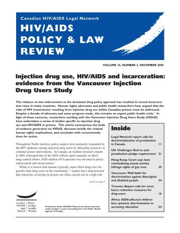 evidence from the Vancouver Injection Drug Users Study