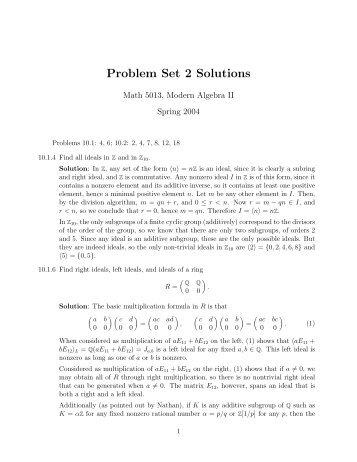 Problem Set 2 Solutions