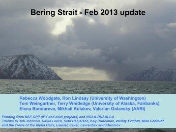 Bering Strait - Feb 2013 update