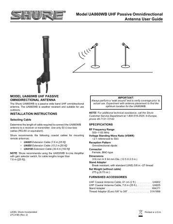shure ua860wb uhf passive omnidirectional antenne user guide rh yumpu com shure sm58 user guide shure slx4 user guide