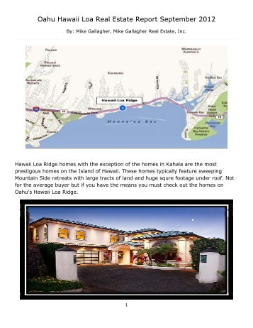 Oahu Hawaii Loa Real Estate Report September 2012