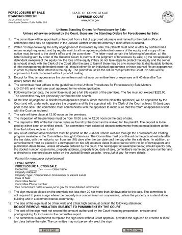 A landlords guide to summary process eviction connecticut foreclosure by sale standing orders connecticut judicial branch solutioingenieria Choice Image