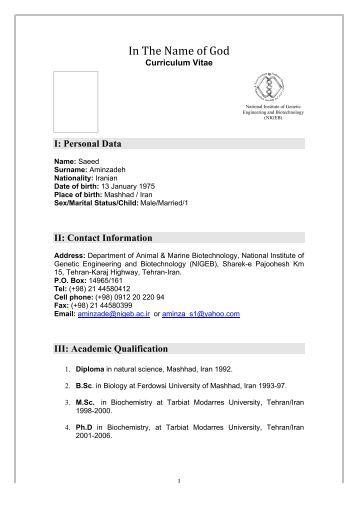 Aminzadeh Curriculum Vitae - VISB