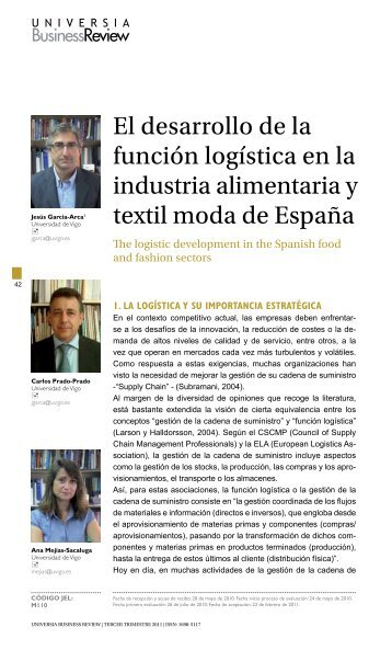 El desarrollo de la función logística en la industria alimentaria y textil ...