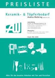 Gießformen - Keramikbedarf und Töpferbedarf • Andrea Wolbring