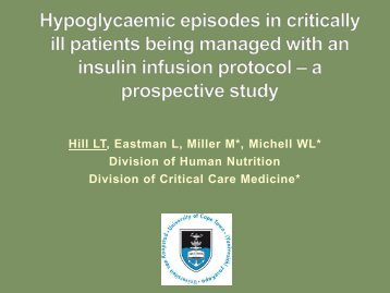 Hypoglycaemic episodes in critically ill patients
