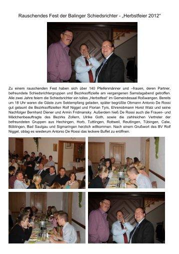 Rauschendes Fest der Balinger Schiedsrichter ... - SRG Balingen