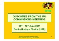 outcomes from the ifu commissions meetings - NZJBA - The New ...