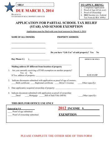 Application for Partial Tax Exemption for Real Property of Senior ...