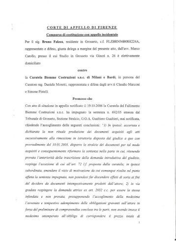 Comparsa di costituzione con appello incidentale ... - Bruno Falzea