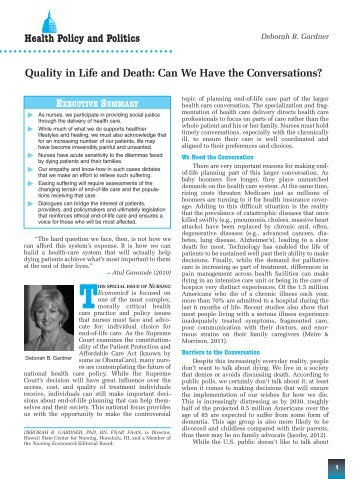 Quality in Life and Death: Can We Have the Conversations? Health ...