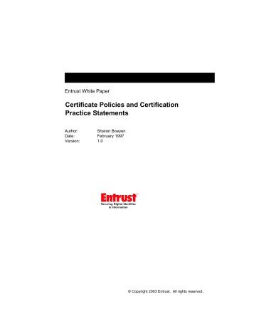 Certificate Policies and Certification Practice Statements v.1.0 - Entrust