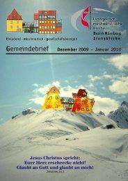 Gemeindebrief Dezember 2009 – Januar 2010 - Zionsgemeinde