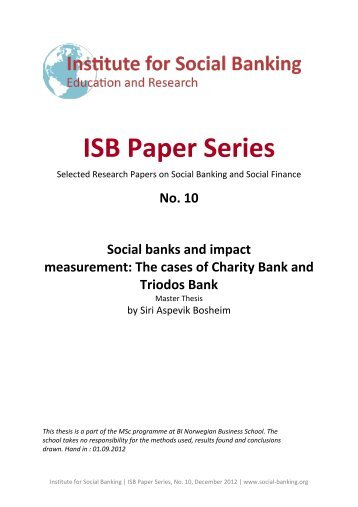 download the paper as a pdf here - Institute for Social Banking
