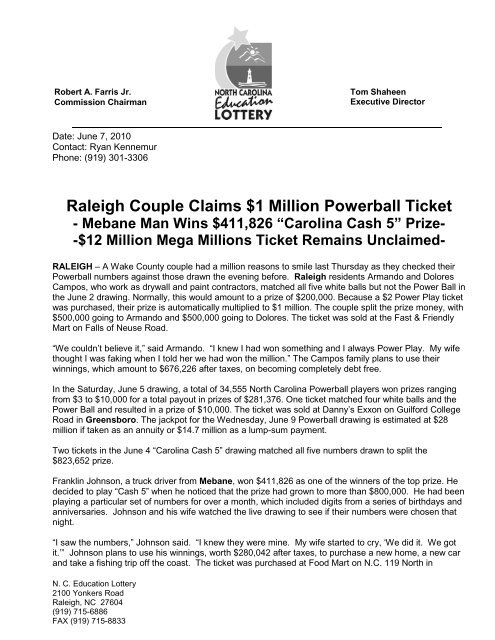 Raleigh Couple Claims 1 Million Powerball Ticket North Carolina