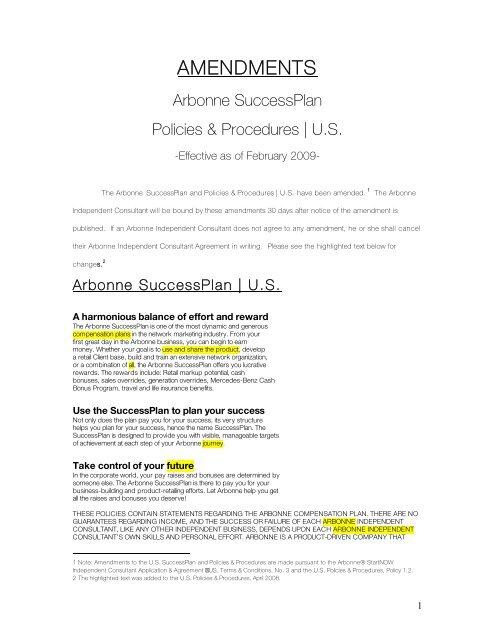 Amendments Arbonne Successplan Policies Procedures U S