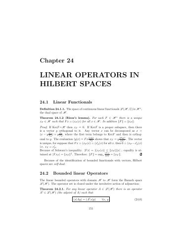 LINEAR OPERATORS IN HILBERT SPACES - the Milan Theory Group