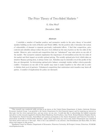 The Price Theory of Two-Sided Markets - University of Chicago ...