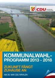 Kommunalwahlprogramm 2013 - CDU KV Rendsburg-Eckernförde