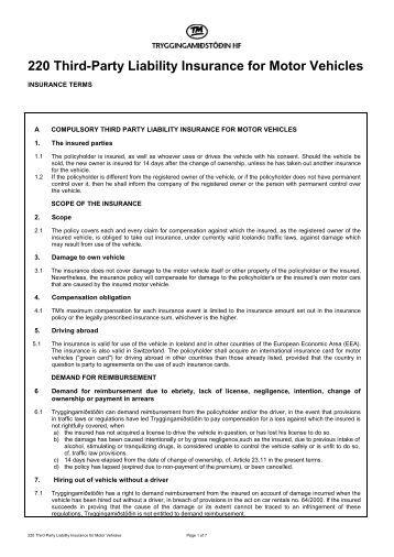 Cap 231 motor vehicles insurance third party risks act for Third party motor vehicle