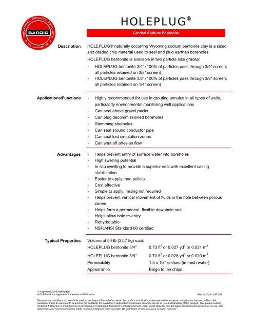 Spec  sheet - PVC Plus Drilling Products