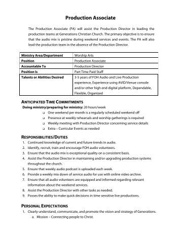 Production Associate Job Description. Production Associate Job