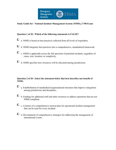 Study Guide For National Incident Management System 40 Nims 41 I