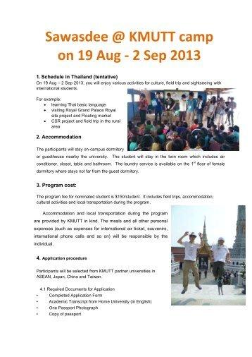 Sawasdee @ KMUTT camp on 19 Aug - 2 Sep 2013