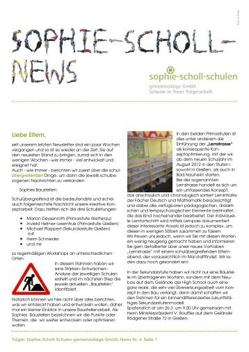2012-4 Newsletter SSSgGmbH 1 - Sophie-Scholl-Schulen