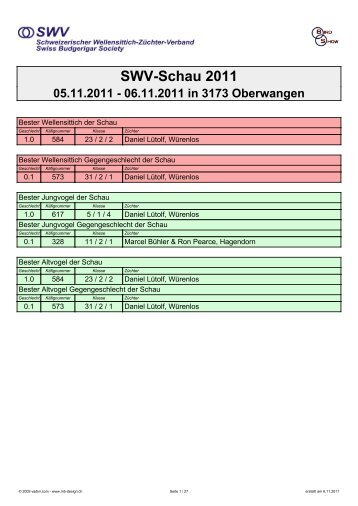 Rangliste der SWV-Schau 2011 als PDF-File