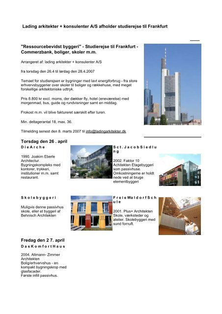 Lading arkitekter + konsulenter A/S afholder studierejse til ... - Byg-Erfa