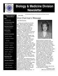 Biology & Medicine Division Newsletter
