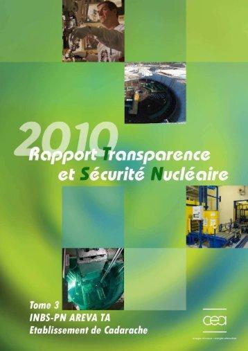 Télécharger le rapport 2010 tome 3 (INBS CEA) - (CLI) de Cadarache