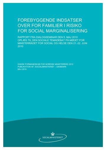 Forebyggende indsatser over for familier i risiko for social ...
