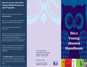 young alumni abrevea.. - Association of Rice Alumni - Rice University