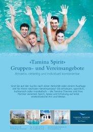 «Tamina Spirit» Gruppen- und Vereinsangebote - Tamina Therme