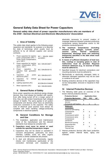 General Safety Data Sheet for Power Capacitors