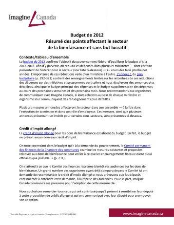 Budget de 2012 Résumé des points affectant le ... - Imagine Canada