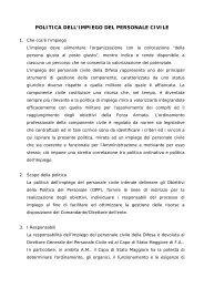 politica dell'impiego del personale civile - Aeronautica Militare Italiana