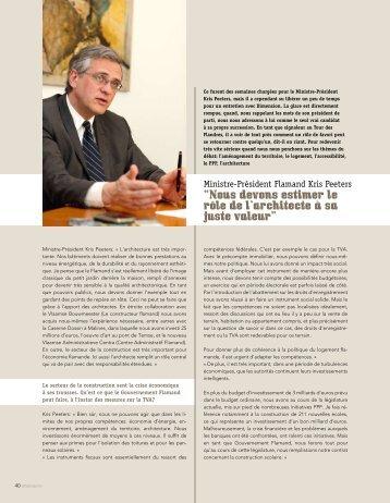 Minstre-Président Flamand Kris Peeters - Dimension
